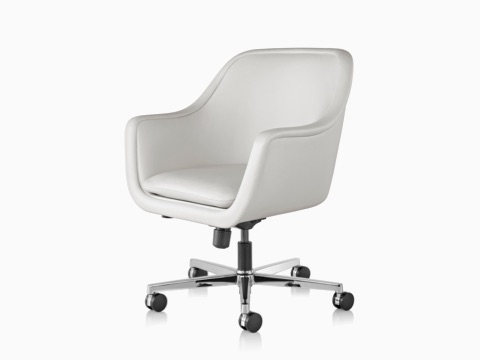 White leather Bumper Chair, viewed from an angle.