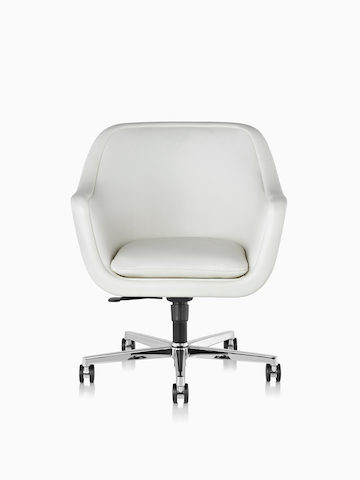 White leather Bumper Chair with a five-star base.