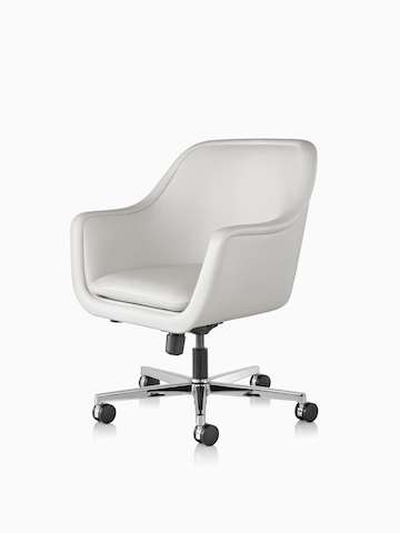 White leather Bumper Chair with a five-star base. Select to go to the Bumper Chair product page.