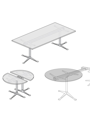 A line drawing showing the different top shapes available for Burdick Group Tables.