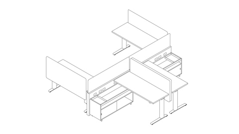 A line drawing of a Canvas Channel workstation with lower storage and screens. Select to go to this setting's detail page.