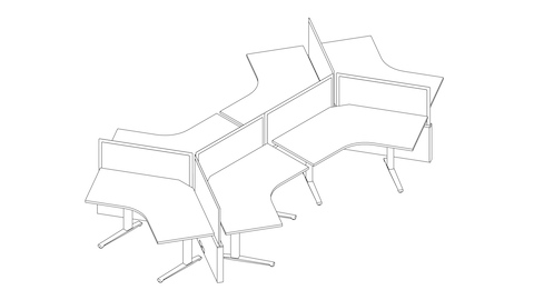 A line drawing of a Canvas Channel workstation with 120 degree desks and screens. Select to go to this setting's detail page.