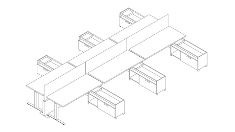 A line drawing of a Canvas Channel workstation with height-adjustable desks and lower storage. Select to go to this setting's detail page.