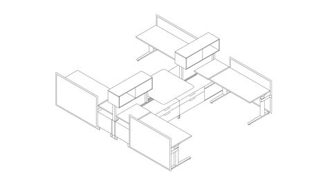 A line drawing of a Canvas Dock workstation with screens and upper storage. Select to go to this setting's detail page.