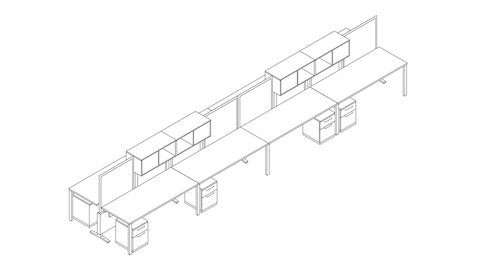 A line drawing of an eight-person Canvas Dock workstation with screens and upper storage. Select to go to this setting's detail page.