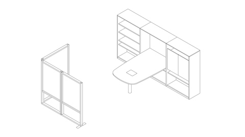 A line drawing of a Canvas Group collaboration space with standing height table, storage, and boundary screens. Select to go to this setting's detail page.