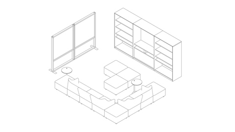 A line drawing of a collaboration space with lounge seating, Canvas Group display wall, writable surfaces, storage, and boundary screens. Select to go to this setting's detail page.