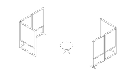 A line drawing of a lounge setting with Canvas Group boundary screens containing writable and tackable surfaces.