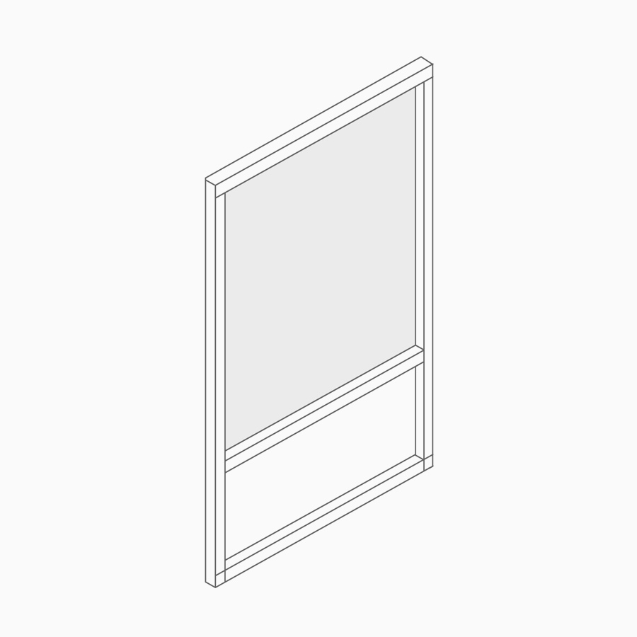 A line drawing of a freestanding screen.