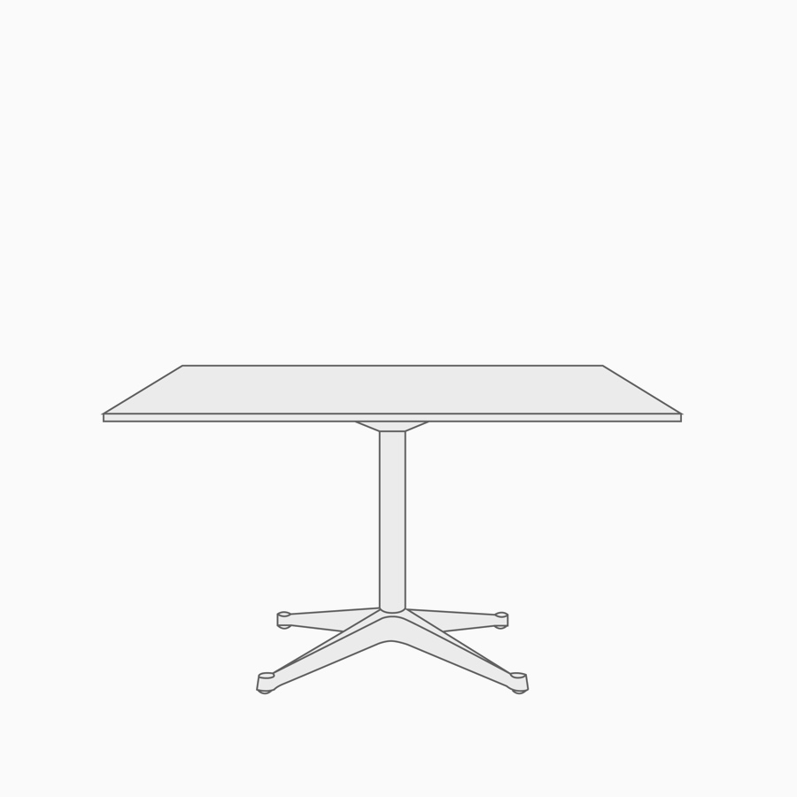 A line drawing of a rectangular table.