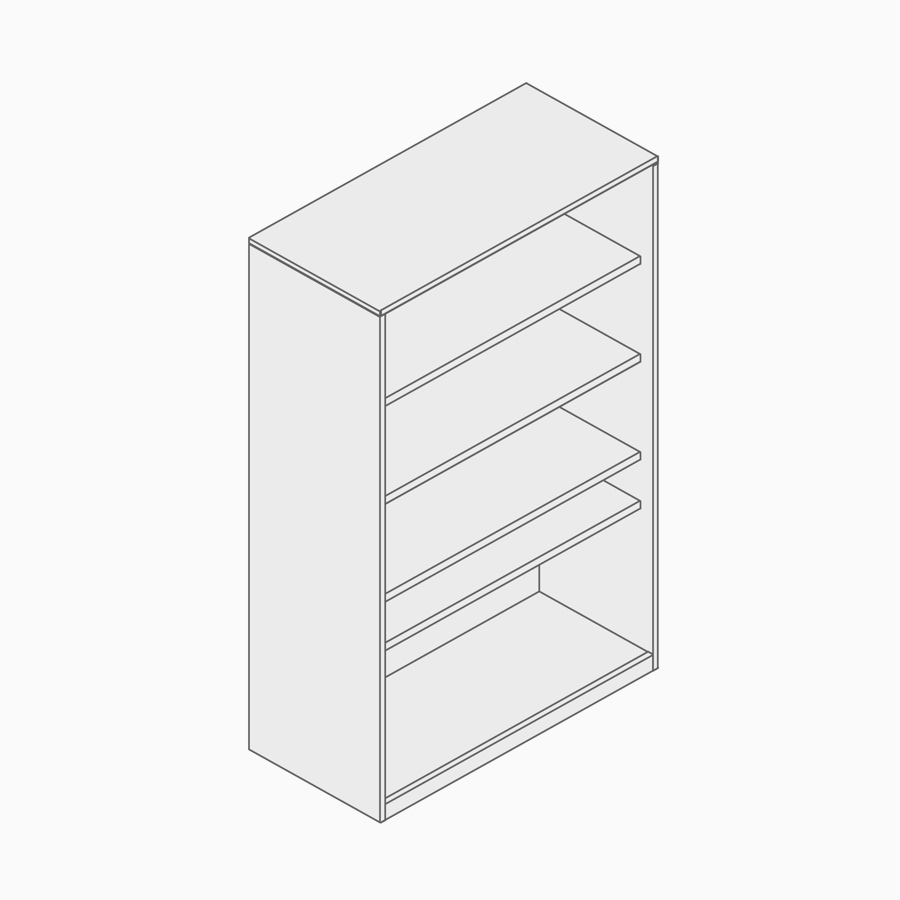 A line drawing of an open storage tower.
