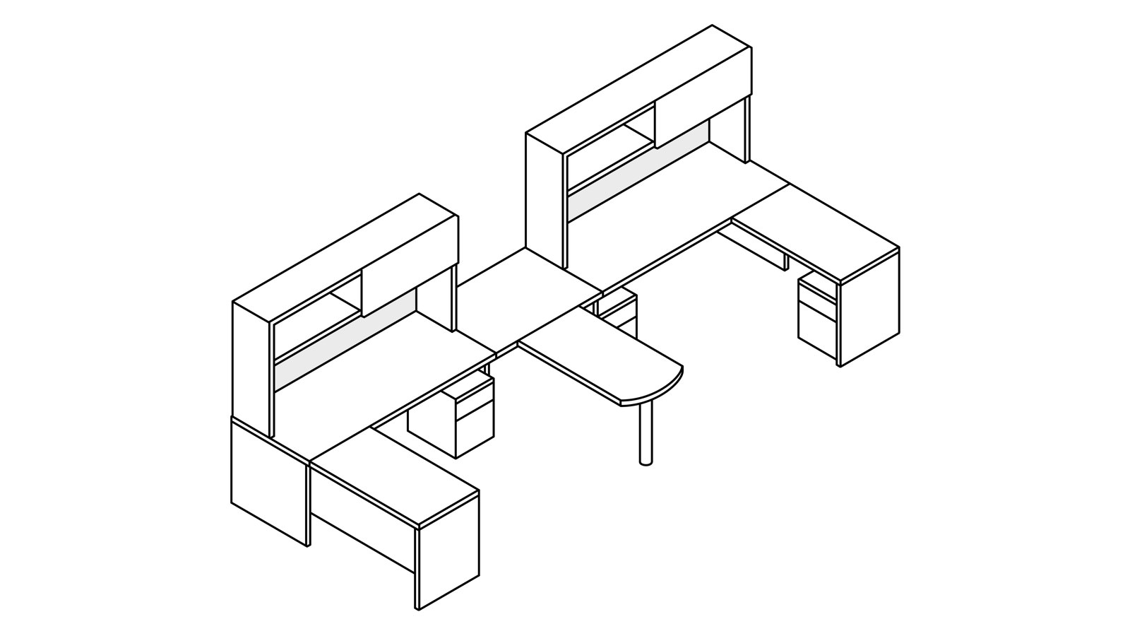 A line drawing of two Canvas Metal Desks with upper storage and a shared peninsula surface.