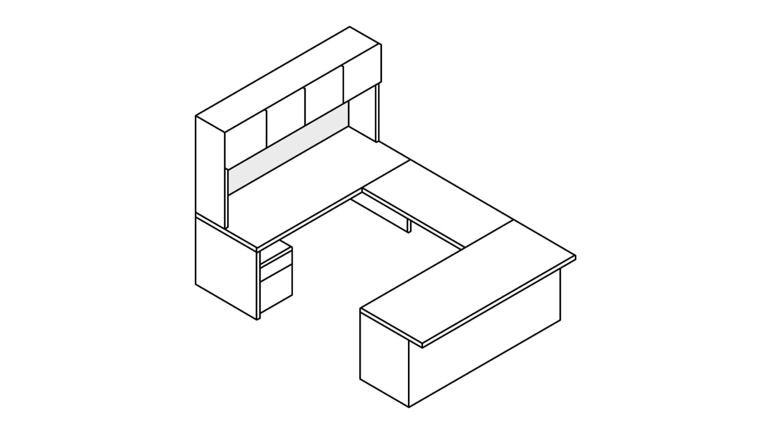 A line drawing of a Canvas Metal Desk with upper storage and an extended surface.