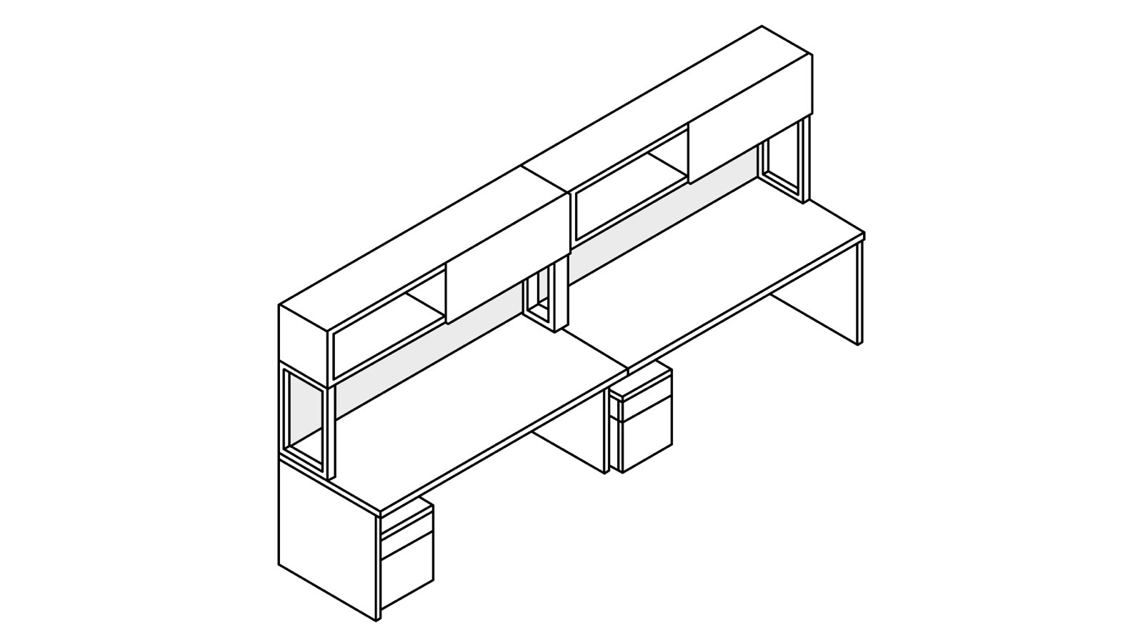 A line drawing of two Canvas Metal Desks with upper and lower storage.