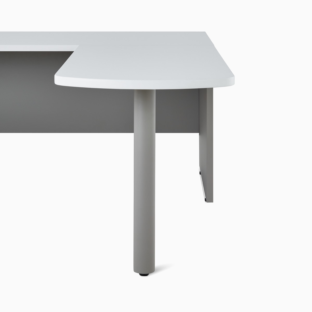 A Canvas Metal Desk white peninsula surface.