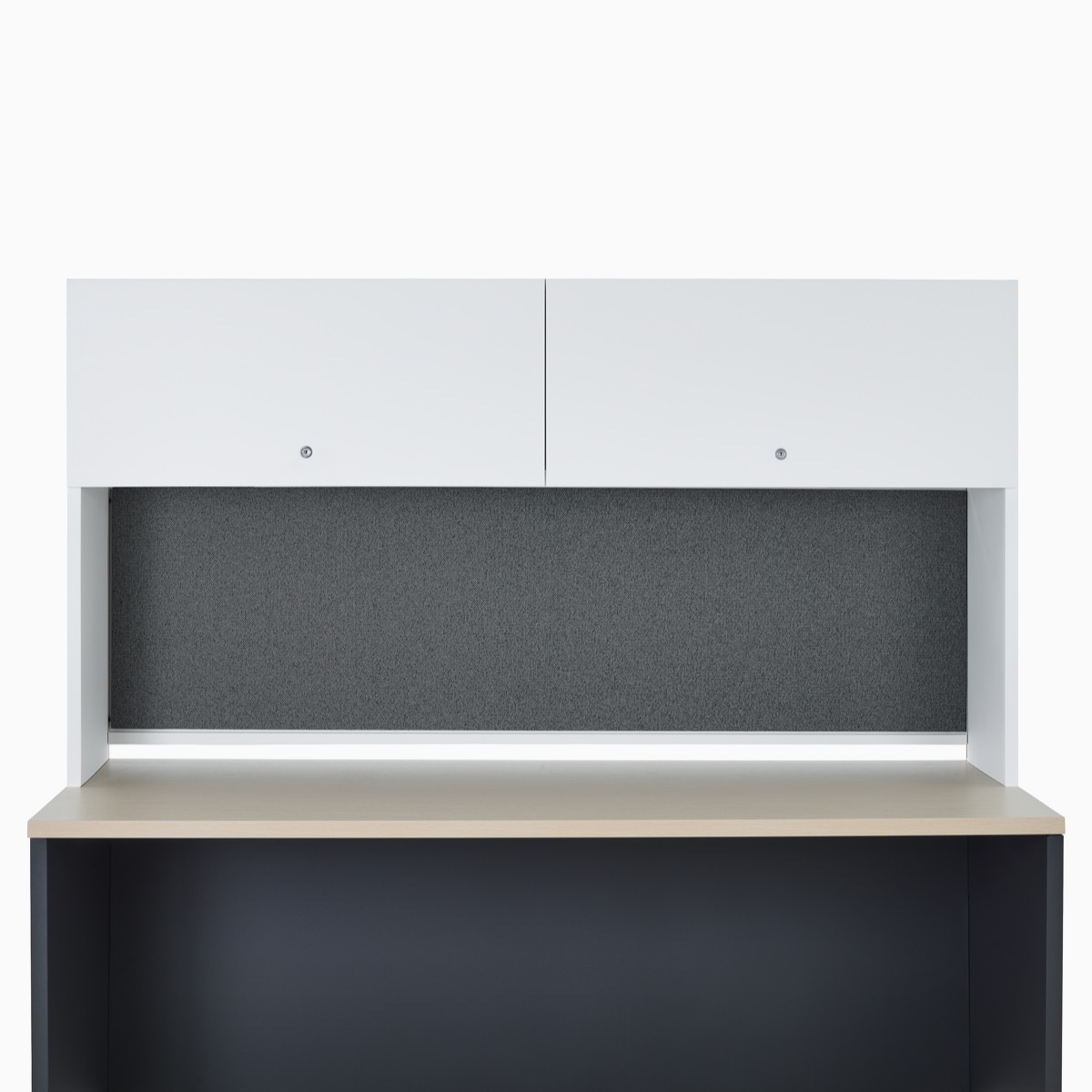 A Canvas Metal Desk with a white storage hutch.