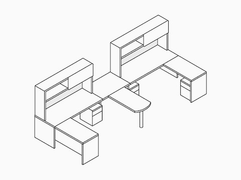 A line drawing of two Canvas Metal Desks with upper storage and a shared peninsula surface. Select to go to the Canvas Metal Desk specs page.