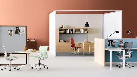 A variety of workplace settings including a private office, meeting space, and individual workstation, all using Canvas Office Landscape.