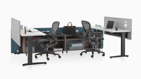 Two dark green Canvas Channel workstations with lower storage, Motia Sit-to-Stand Tables, and black Aeron office chairs.