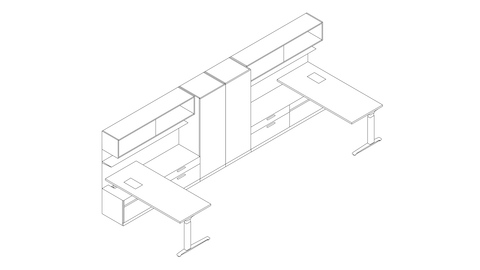 A line drawing of a shared Canvas Private Office with storage tower, overhead storage, and lower storage. Select to go to this setting's detail page.