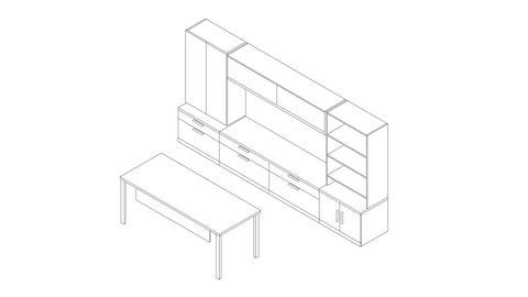 A line drawing of a Canvas Private Office with storage towers and a separate desk. Select to go to this setting's detail page.