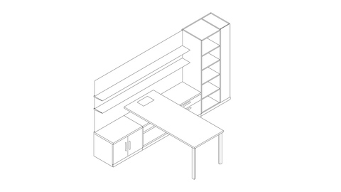 A line drawing of a Canvas Private Office with a storage tower, floating shelves, and integrated surface power. Select to go to this setting's detail page.