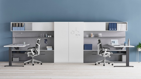 A shared Canvas Private Office with white and grey storage, height-adjustable desks, and two black Mirra 2 chairs.