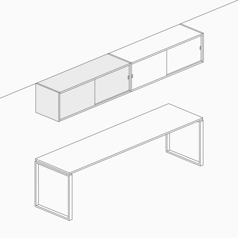 A line drawing of overhead storage as an open unit, separate from a lower unit or work surface.