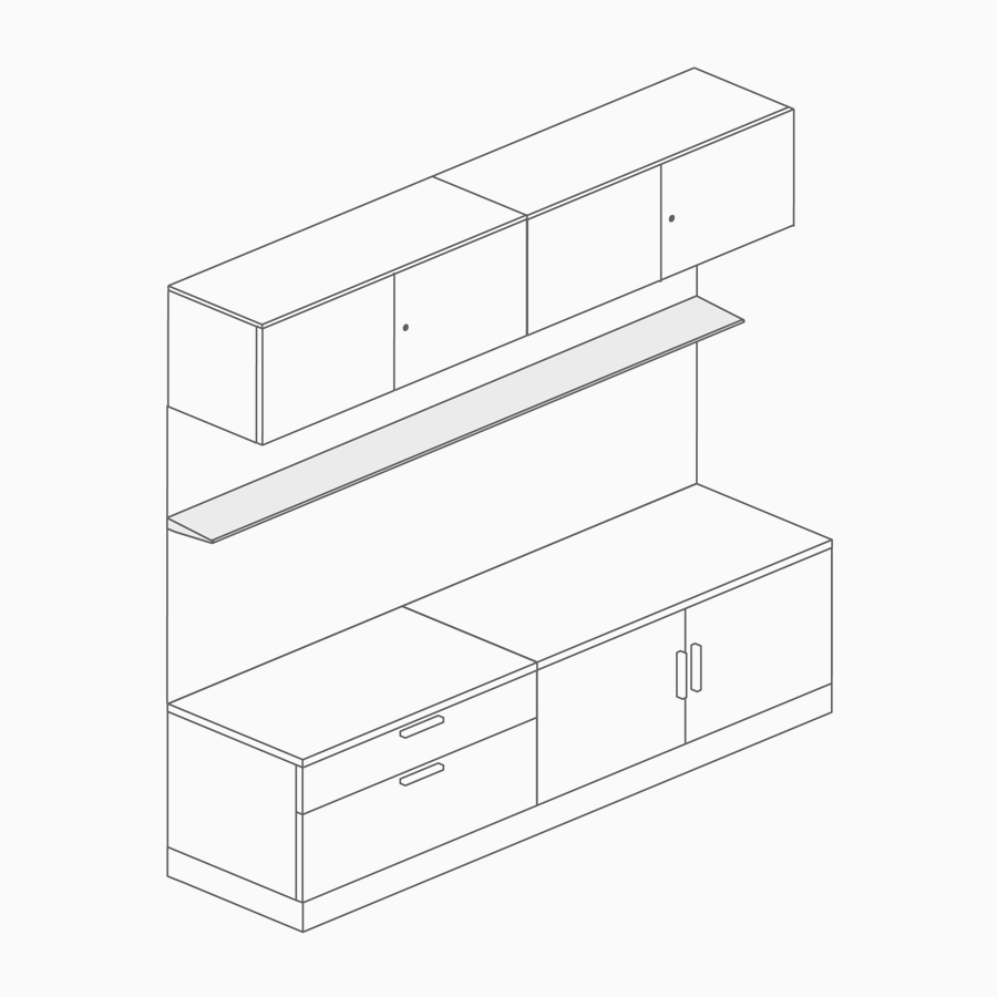 A line drawing of a floating shelf on a back panel between overhead storage and lower storage.