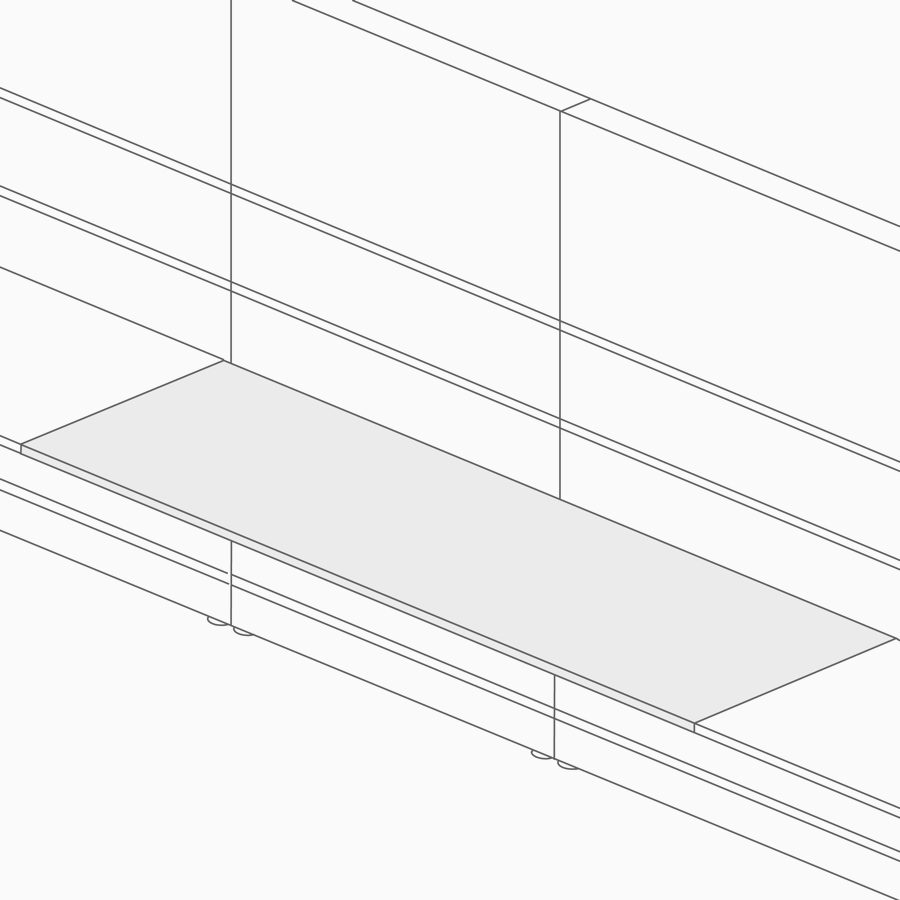 A line drawing of a rectangular surface attached to a wall and supported by storage.