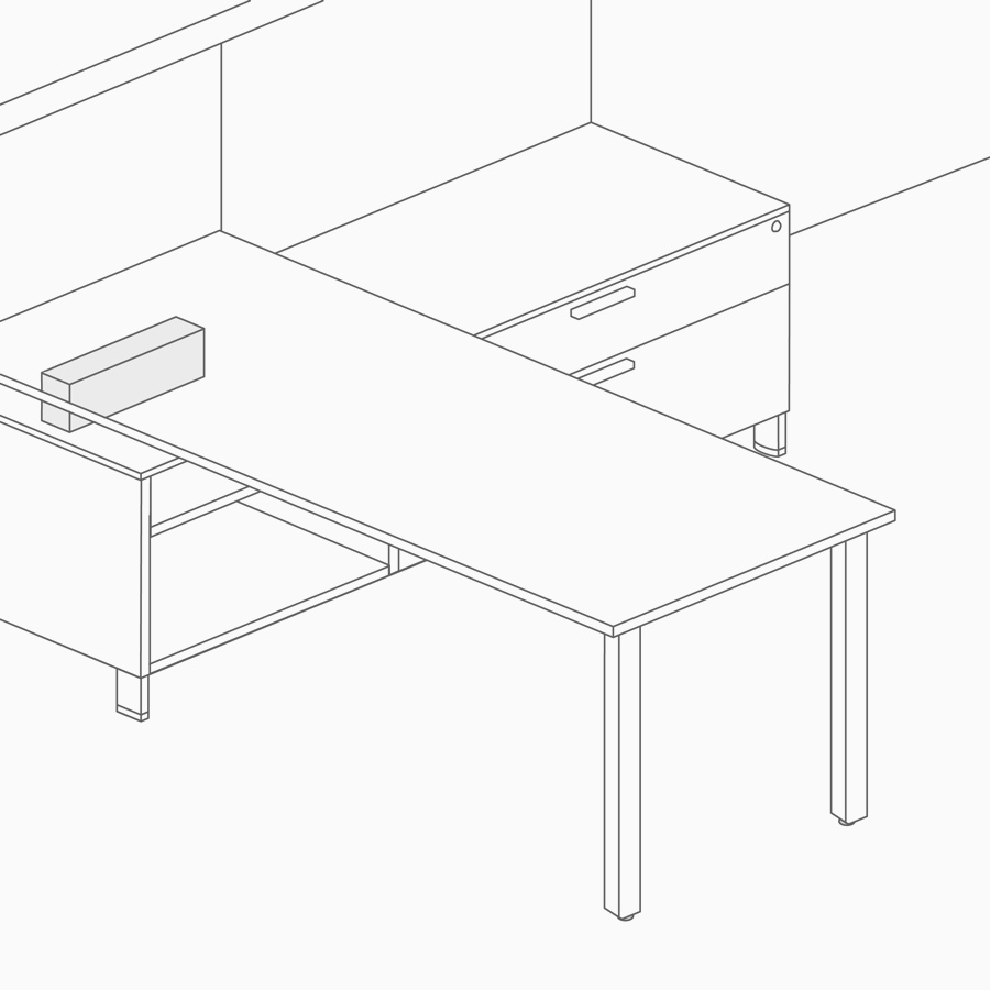 A line drawing of a stanchion supporting a work surface on top of lower storage.