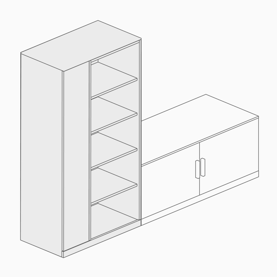A line drawing of a freestanding storage tower and lower credenza.