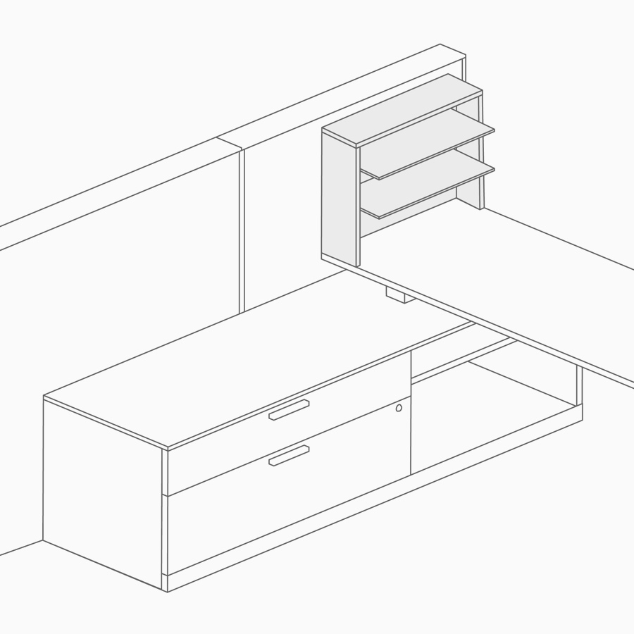 A line drawing of aluminum shelving attached to the top of a work surface.