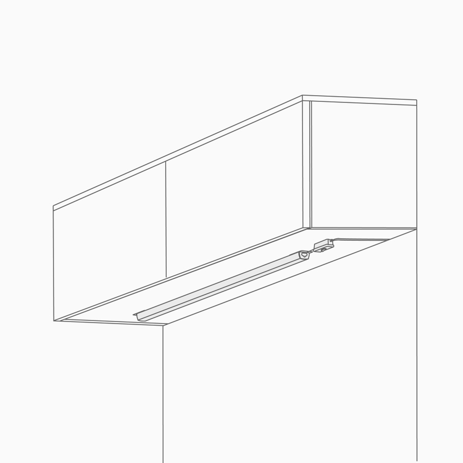 A line drawing of undercabinet lighting beneath upper storage.
