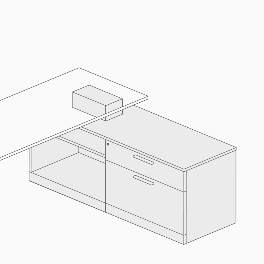 A line drawing of power access in a work surface attached to lower storage.