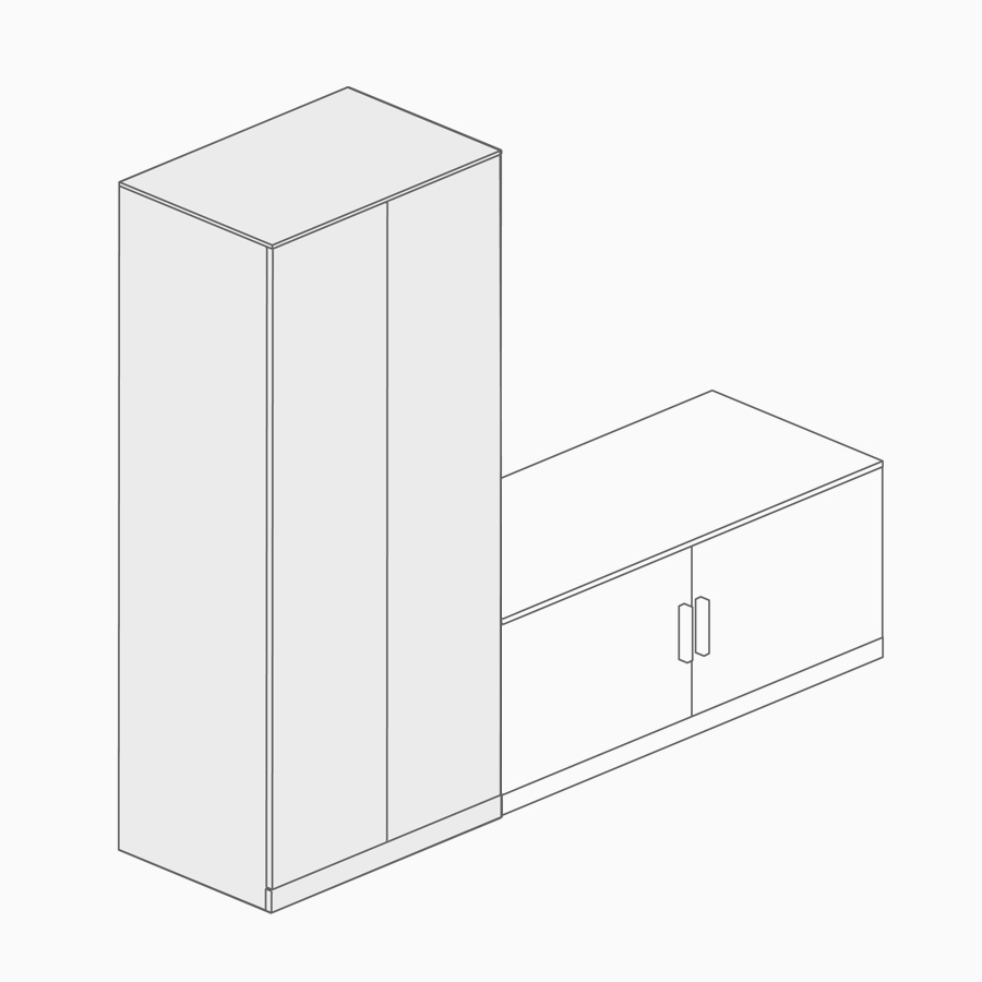 A line drawing of a storage tower with writable panels.