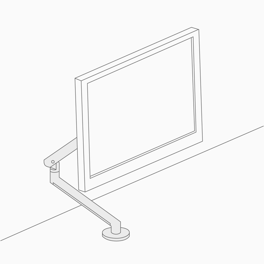 A line drawing of an adjustable display arm.