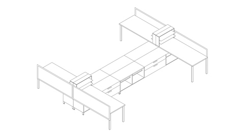 A line drawing of a Canvas Storage workstation with storage and desk shelving units. Select to go to this setting's detail page.