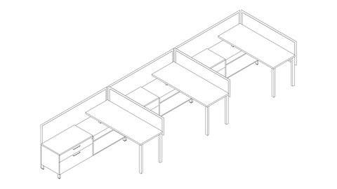 A line drawing of a Canvas Storage workstation with screens and lower storage. Select to go to this setting's detail page.
