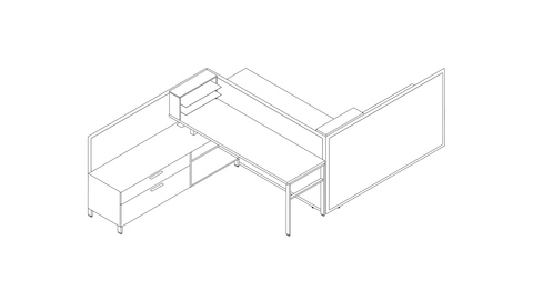 A line drawing of a Canvas Storage workstation with lower storage and desk shelving. Select to go to this setting's detail page.
