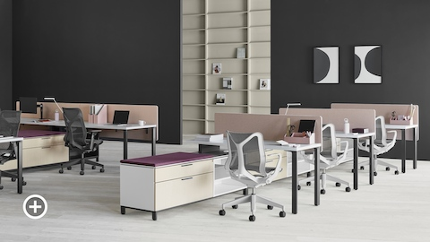 Two Canvas Storage workstations with pink screens, lower storage with purple cushion tops, and Cosm office chairs. Select to go to the Shared Workspaces page within the Canvas Lookbook.