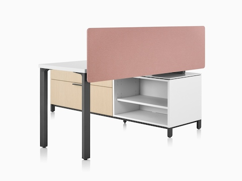 A Canvas Storage workstation with a white surface, pink screen, and graphite legs.