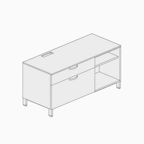 A line drawing of a powered credenza.
