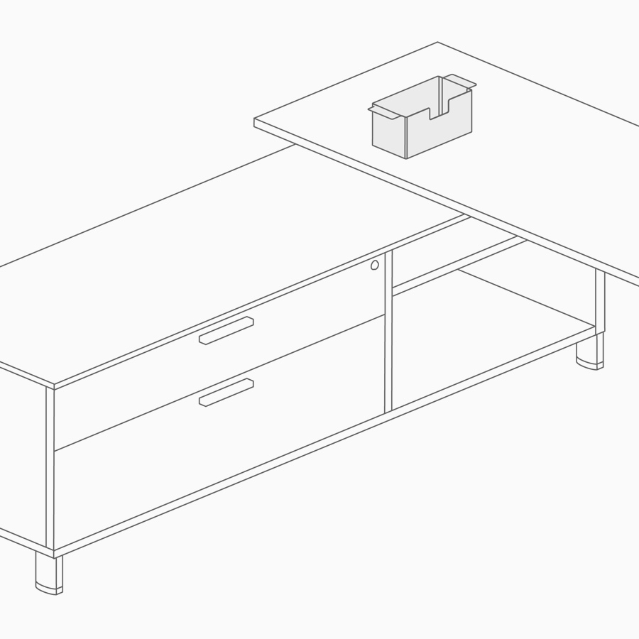A line drawing of a stanchion supporting a work surface.