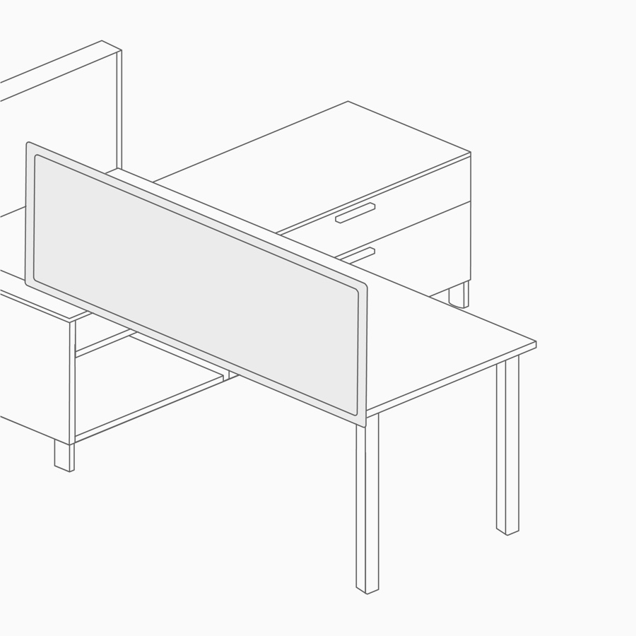 A line drawing of a screen attached to a desk.