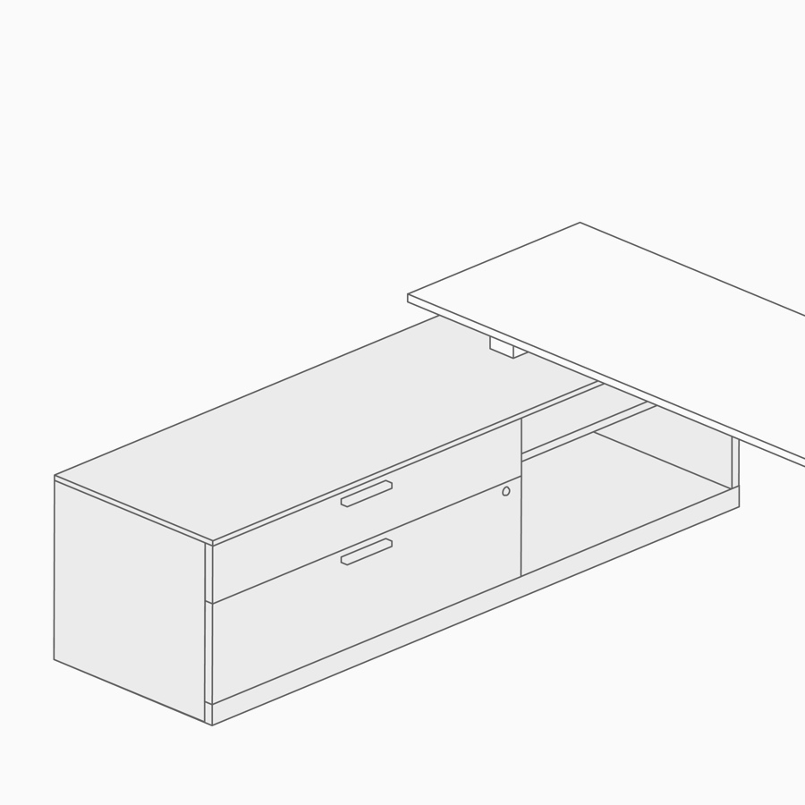 A line drawing of low credenza.