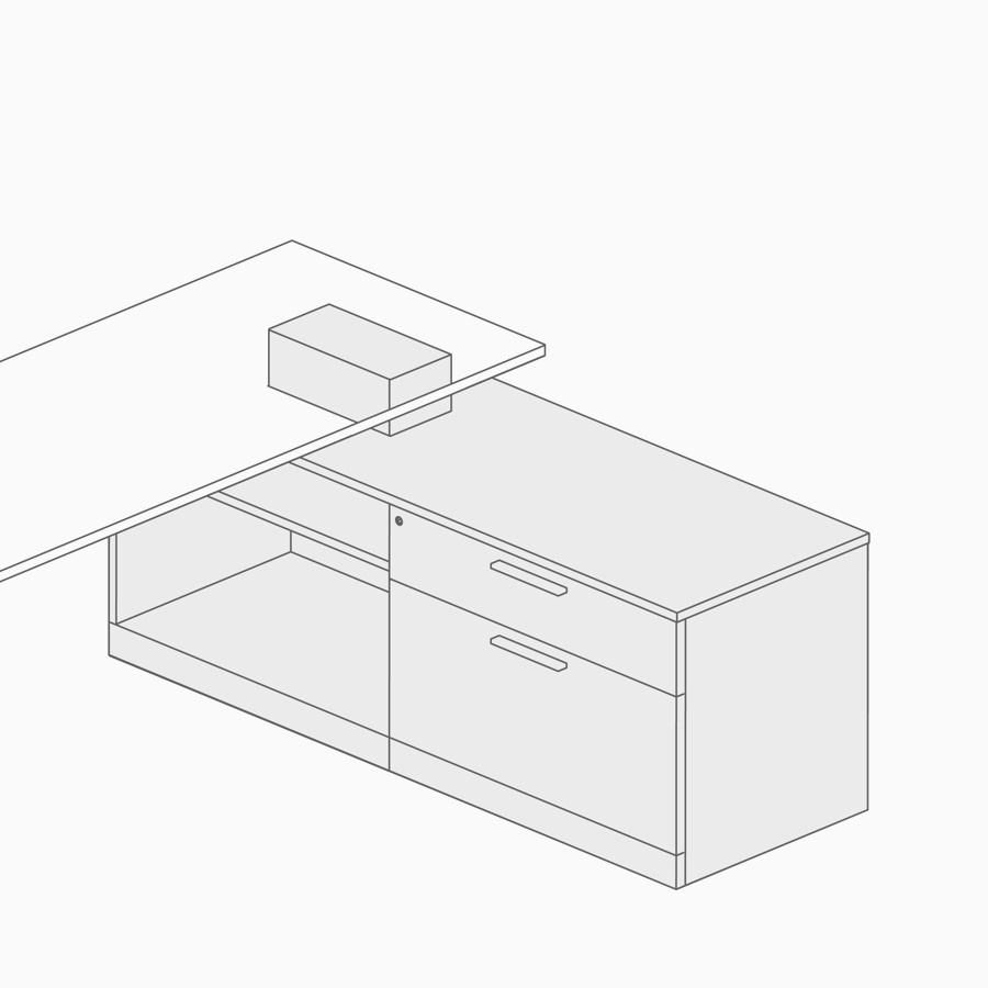 A line drawing of low credenza power access.