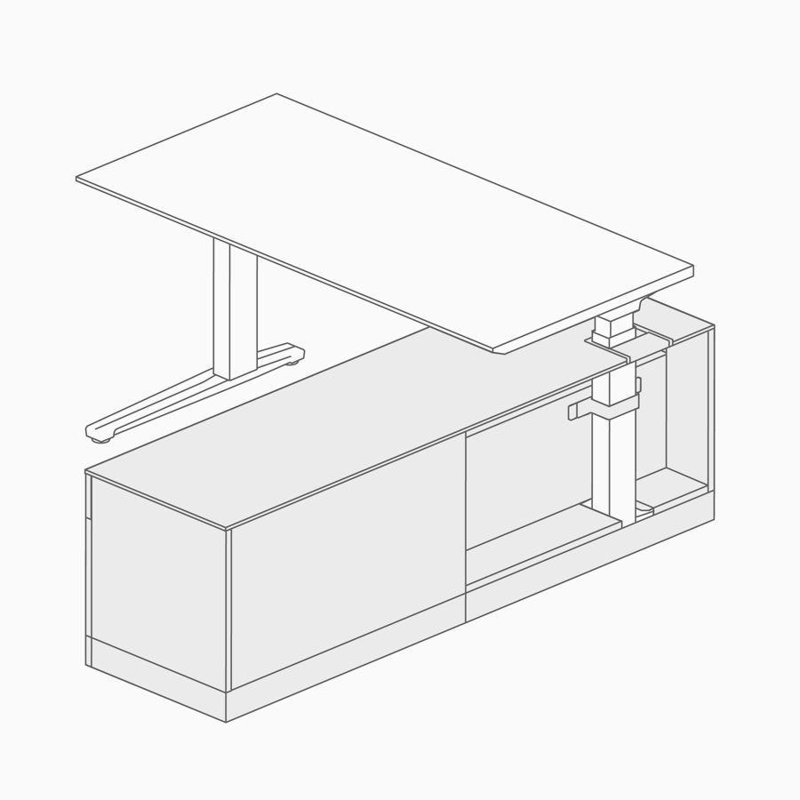 A line drawing of a height-adjustable table integrated into lower storage.