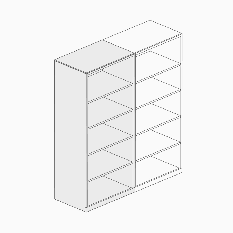A line drawing of a bookcase.