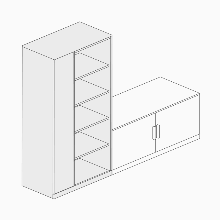 A line drawing of an open storage tower paired with lower storage.